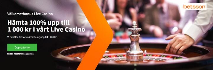 Betsson Live casinobonus upp till 1000 kr